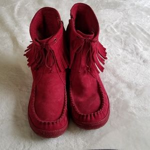 UGG Kaysa Sangria Red Moccasin Ankle Boot